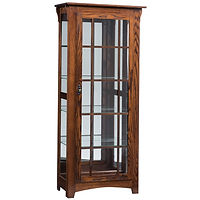 Mission Single Door Curio | 4 adjustable shelves with plate groove, mirror back, clear glass, LED touch light, black pull with lock, door hinged right | Oak in Medium OCS110 | 31 1/2in W x 14in D x 72in H | The Amish Home | Amish Furniture at the Pittsburgh Mills