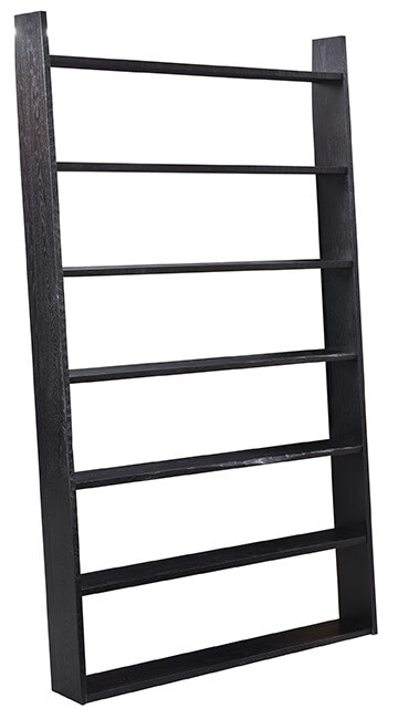Ladder Bookcase|Brown Maple in Onyx OCS230|50in W x 7in D x 84in H|The Amish Home|Amish Furniture at the Pittsburgh Mills