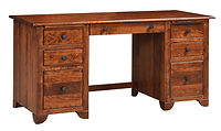 Cherry Valley Double Pedestal Credenza Desk | Rustic Cherry in Michaels OCS113 | 72in W x 25in D x 30in H | The Amish Home | Amish Furniture at the Pittsburgh Mills