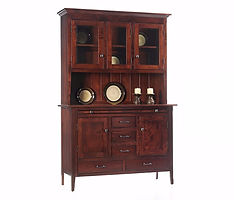 Newport Shaker 3 Door Hutch|Rustic Cherry in Michaels OCS113|61in W x 19in D x 82 1/2in H|The Amish Home|Amish Furniture at the Pittsburgh Mills Amish Dining Solutions