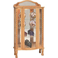 Tri-Front Curio | 3 adjustable shelves with plate groove, mirror back, clear glass, LED touch light, brass pull with lock, door hinged right | Oak in Fruitwood OCS102 | 34in W x 15in D x 65in H | The Amish Home | Amish Furniture at the Pittsburgh Mills