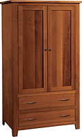 Bloomfield Armoire | Two flat-panel inset doors, your choice of garment rod or adjustanbel shelves, two inset draers. | Rustic Quartersawn White Oak in Michaels OCS113 | 40in W x 21in D x 72in H | The Amish Home | Amish Furniture at the Pittsburgh Mills