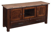 Reclaimed Barn Wood TV Stand | Rustic Cherry in Asbury OCS117 | 60in W x 18in D x 30in H | The Amish Home | Amish Furniture at the Pittsburgh Mills