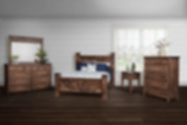 Denali Bedroom Furniture Collection|Rustic and rugged bedroom suite with 1 1/4in solid tops, flush inset drawers with flat panel fronts and softened front corners. Deluxe four poster bed with chevron plank design, dresser with nine drawers and optional mirror, basic nightstand with one drawer and open shelf, bureau with six drawers.|Solid Brown Maple (Circular Sawn) in Almond FC-4200|The Amish Home|Amish Furniture at the Pittsburgh Mills