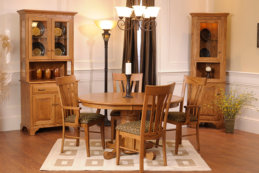 "The American Classics Three-Door China Cabinet and 21"" Corner Cabinet with the Country Single Pedestal Table and Cosmo chair"