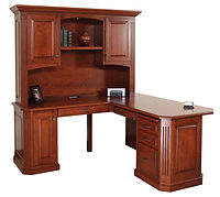 Buckingham L-Desk with Hutch | Cherry in Washington OCS107 | 68in W x 68in D x 77 1/2in H | The Amish Home | Amish Furniture at the Pittsburgh Mills