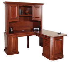 Buckingham L-Desk with optional Hutch | Cherry in Washington OCS107 | 68in W x 68in D x 77 1/2in H | The Amish Home | Amish Furniture at the Pittsburgh Mills
