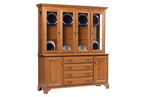 Americana 4 Door Hutch|Oak in Fruitwood OCS102|68in W x 18in D x 79in H|The Amish Home|Amish Furniture at the Pittsburgh Mills Amish Dining Solutions