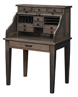 David's Mission Secretary Roll Top Desk | Brown Maple in Antique Slate OCS118 | 36in W x 26in D x 51 1/2in H | The Amish Home | Amish Furniture at the Pittsburgh Mills