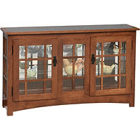 Mission Large Console Curio | Glass top, 2 adjustable shelves with plate groove, mirror back, clear glass, no light, black pull with lock | Quartersawn White Oak in Michaels OCS113 | 50in W x 13in D x 30in H | The Amish Home | Amish Furniture at the Pittsburgh Mills