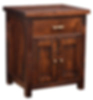 Timbermill Nightstand with 1 Drawer and 2 Doors | One inset drawers, two doors with flat inset panels. 1 1/2inch solid top with softened front edge, beaded trim on drawers, flat inset panel sides, antique brushed satin brass hardware. | Rustic Cherry in Kona FC-3030 | 25 1/4in W x 20 1/4in D x 30in H | The Amish Home | Amish Furniture at the Pittsburgh Mills