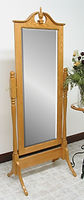 Pediment Cheval Mirror|Oak in Fruitwood OCS102|26 3/4in W x 17in D x 68in H|The Amish Home|Hardwood Furniture at the Pittsburgh Mills