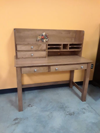 Rivertowne Desk and Hutch - $1085|Brown Maple in Fruitwood OCS102|48in W x 24in D x 48.75in H|The Amish Home|Amish Furniture at the Pittsburgh Mills