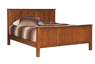 English Shaker Panel Bed|Oak in Seely OCS104|Headboard 52 3/4in H, footboard 18 3/4in H|The Amish Home|Amish Furniture at the Pittsburgh Mills