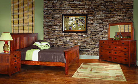 Country Mission Bedroom Furniture Collection|Country Mission Deluxe Queen Bed, Tall Dresser with Mirror, 3 Drawer Nightstand|Solid Quartersawn White Oak in Michaels OCS113|The Amish Home|Amish Furniture at the Pittsburgh Mills