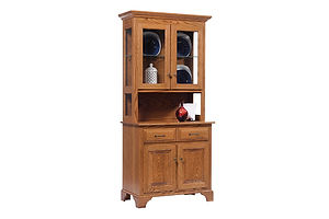 Americana 2 Door Hutch|Oak in Fruitwood OCS102|35in W x 18in D x 79in H|The Amish Home|Amish Furniture at the Pittsburgh Mills Amish Dining Solutions