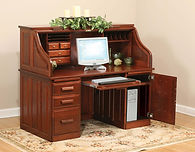 David's Traditional Computer 62in Roll Top Desk | Cherry in Acres OCS106 | 62in W x 30in D x 51 1/2in H | The Amish Home | Amish Furniture at the Pittsburgh Mills