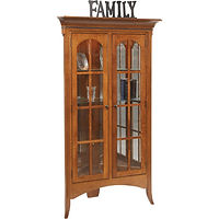 Bunker Hill Corner Curio | 3 adjustable glass shelves with plate groove, mirror back, clear glass, LED touch light, no lock. | Quartersawn White Oak in Michaels OCS113 | 42in W x 25in D x 76 1/4in H, 30in wall space | The Amish Home | Amish Furniture at the Pittsburgh Mills