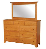 Jonas's Shaker Tall Dresser|Oak in Seely OCS104|66in W x 20in D x 42 1/2in H|The Amish Home|Amish Furniture at the Pittsburgh Mills
