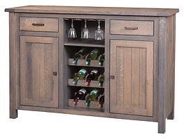 Adele Wine Buffet with plank top|Quartersawn White Oak in Antique Slate 118|60in W x 20in D x 42in H|The Amish Home|Amish Furniture at the Pittsburgh Mills