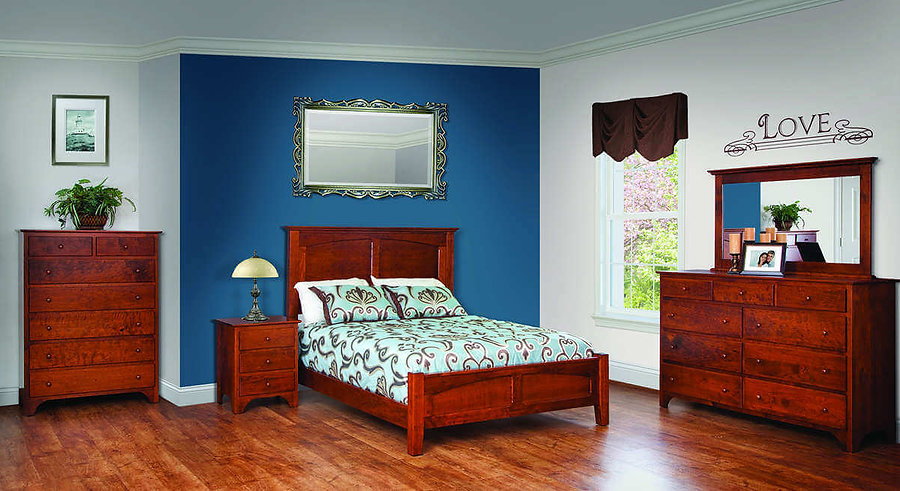 Jonas's Shaker Bedroom Furniture Collection|Shaker Panel Queen Bed, Tall Dresser with Mirror, 3 Drawer Nightstand, Chest of drawers|Solid Rustic Cherry in Michaels OCS113|The Amish Home|Amish Furniture at the Pittsburgh Mills