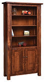 Hand Hewn Bookcase with optional doors | Rustic Cherry in Michaels OCS113 | 36in W x 14in D x 72in H | The Amish Home | Amish Furniture at the Pittsburgh Mills