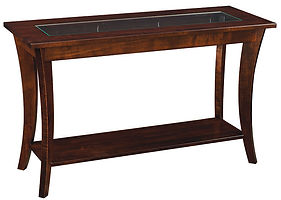 Lehigh Sofa Table with glass insert|Brown Maple in Boston OCS111|48in W x 18in D x 29in H|The Amish Home|Amish Furniture at the Pittsburgh Mills