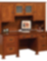 Parker Mission Desk with Hutch|Quartersawn White Oak in Michaels OCS113|72 1/2in W x 26in D x 71in H|The Amish Home|Amish Furniture at the Pittsburgh Mills