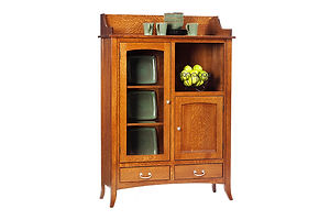English Shaker Pottery Pantry|Quartersawn White Oak in Michaels OCS113|45in W x 17in D x 65in H|The Amish Home|Amish Furniture at the Pittsburgh Mills