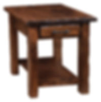 Hand Hewn End Table | Rustic Cherry in Medium OCS110 | 22in W x 24in D x 24in H | The Amish Home | Amish Furniture at the Pittsburgh Mills
