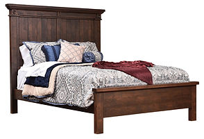 Timbermill Panel Bed | Tall headboard with shiplap panels, rosette accents, and statement crown molding, flat footboard with heavy top crest | Rustic Cherry in Kona FC-3030 | Headboard 64in H, footboard 20in H | The Amish Home | Amish Furniture at the Pittsburgh Mills