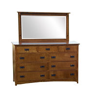 Empire Mission Tall Dresser & Mirror|Quartersawn White Oak in Michaels OCS113|66in W x 20 3/4in D x 43in H|The Amish Home|Hardwood Furniture at the Pittsburgh Mills
