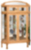 Double Door Bonnet Top Curio|Oak in S-2 OCS101|51in W x 13 1/2in D x 76in H|The Amish Home|Hardwood Furniture at the Pittsburgh Mills
