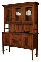 Hudson 3 Door Hutch with plank top and shiplap back|Rustic Cherry in Michaels OCS113|60in W x 20in D x 85in H|The Amish Home|Amish Furniture at the Pittsburgh Mills