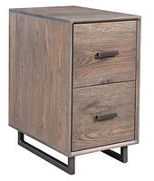 Capri Industrial Style Two-drawer File Cabinet with metal base | Oak in Antique Slate OCS118 | 15 1/2in W x 25in D x 29 1/4in H | The Amish Home | Amish Furniture at the Pittsburgh Mills
