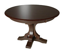 Gatlin Single Pedestal Table | Shown with round top, beveled edge. Available with butterfly leaf. | Brown Maple in Two-toned | Many Sizes Available | The Amish Home | Amish Furniture at the Pittsburgh Mills