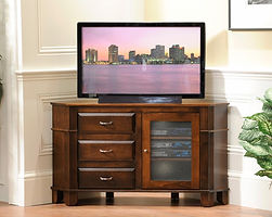 Arlington Corner TV Stand with 1 Glass Door and 3 Drawers | Brown Maple in Coffee OCS226 | 52 1/2in W x 18in D x 29 1/2in H, 37in wall space | The Amish Home | Amish Furniture at the Pittsburgh Mills