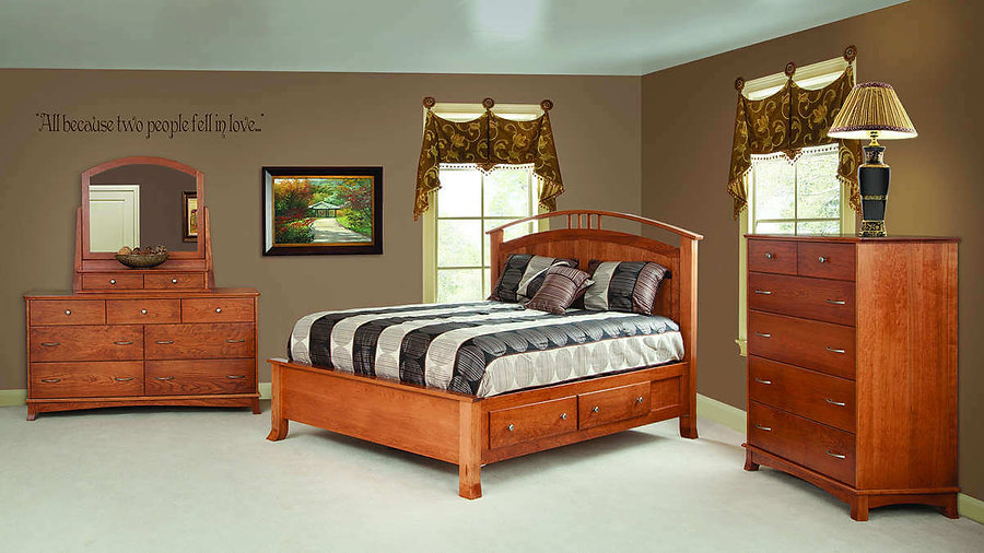 Crescent Bedroom Furniture Collection|Crescent Panel Queen Storage Bed, Dresser with Mirror, Chest of Drawers|Solid Cherry in S-14 OCS108|The Amish Home|Amish Furniture at the Pittsburgh Mills