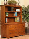 Prairie Mission Lateral File Cabinet shown with optional bookcase hutch | Oak in Michaels OCS113 | 60in W x 24in D x 70 1/4in H | The Amish Home | Amish Furniture at the Pittsburgh Mills