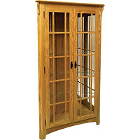 Mission Corner Curio | 4 adjustable shelves with plate groove, mirror back, clear glass, LED touch light, black pull with lock | Oak in Seely OCS104 | 41in W x 19in D x 72 1/2in H, 28in wall space | The Amish Home | Amish Furniture at the Pittsburgh Mills