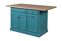 Jefferson City Traditional Kitchen Island | 3 Doors, 2 Drawers, 2 Adjustable Shelves. Shown with hard maple butcher block top. | Brown Maple in Teal Paint | 47 1/4in W x 24in D x 34 1/2in H | The Amish Home | Amish Furniture at the Pittsburgh Mills