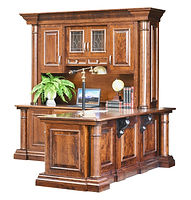 Paris L- Desk with optional hutch | Cherry in Chocolate Spice FC-9090 | 82 1/2in W x 80 3/4in D x 82 1/2in H | The Amish Home | Amish Furniture at the Pittsburgh Mills