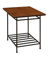 Bradford End Table with metal base | Metal Base & Brown Maple in Michaels OCS113 | 22in W x 26in D x 25in H | The Amish Home | Amish Furniture at the Pittsburgh Mills