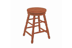 Round Top Swivel Stool|Oak in Fruitwood OCS102 | Shown with Fancy Leg.|The Amish Home|Amish Furniture at the Pittsburgh Mills