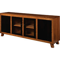 Delgado Display Case | 1 adjustable wood shelf behind each door, wood back, LED touch light, push-to-open hardware on outside doors | Cherry in Two-toned | 72in W x 15in D x 30in H | The Amish Home | Amish Furniture at the Pittsburgh Mills
