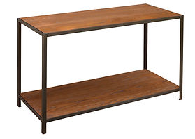 Montgomery Industrial Style Sofa Table with metal base|Metal Base & Oak in Michaels OCS113|48in W x 20in D x 29in H|The Amish Home|Amish Furniture at the Pittsburgh Mills