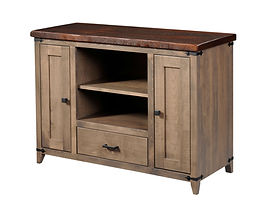Frontier TV Stand|Reclaimed Barn Oak in Asbury OCS117|50in W x 18in D x 32in H|The Amish Home|Hardwood Furniture at the Pittsburgh Mills