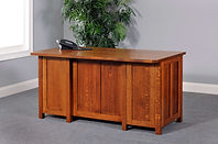 Coventry Mission Executive Desk shown from back | Quartersawn White Oak in Michaels OCS113 | 60in W x 30in D x 30 1/4in H | The Amish Home | Amish Furniture at the Pittsburgh Mills