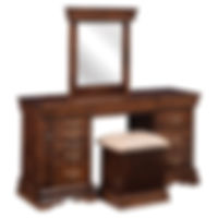 Louis Phillipe Jewelry Dressing Table | 9 drawers, 1 with ring bar, 3 with wooden dividers, 1 with velvet bottom, 3 with wood bottom, 1 hidden drawer. Pull-out wing with 13 jewelry hooks. Full extension drawer slides. | Rustic Cherry in Asbury OCS117 | 56in W x 17 1/2in D x 30 1/2in H | The Amish Home | Amish Furniture at the Pittsburgh Mills