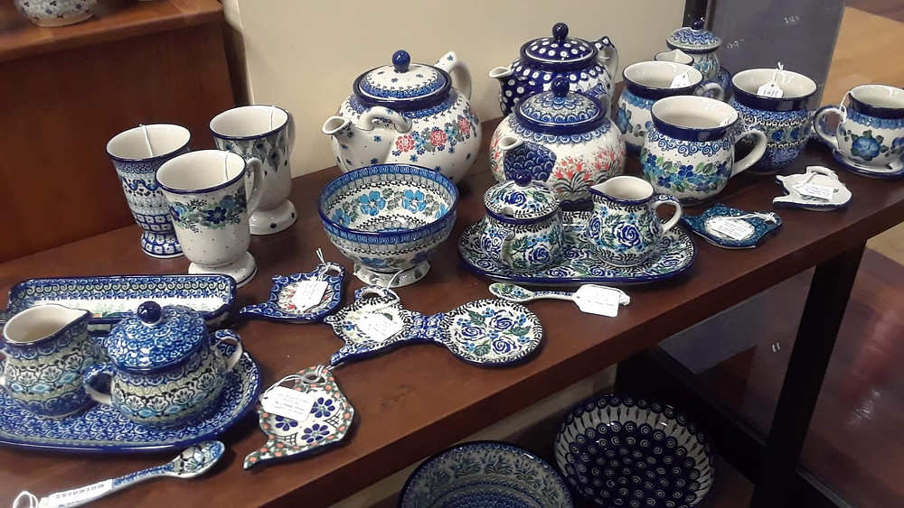 Polish Pottery Tea Pots, mugs, spoons, cream & sugar sets